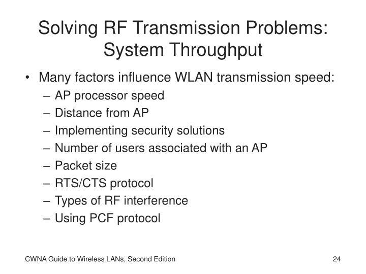 Solving RF Transmission Problems: System Throughput