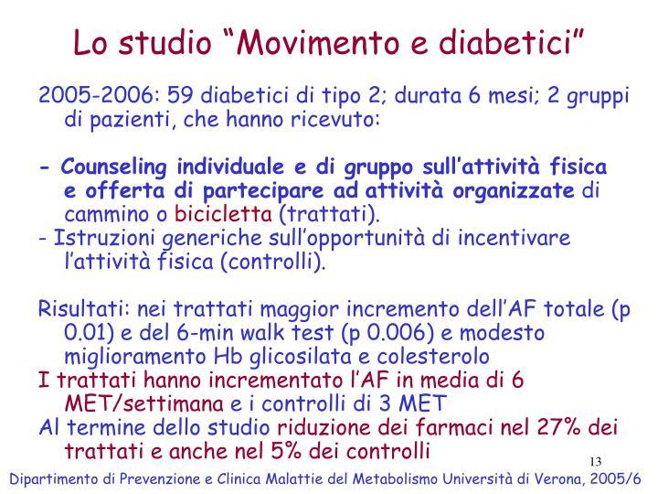 """Lo studio """"Movimento e diabetici"""""""