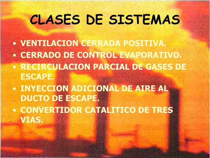 CLASES DE SISTEMAS