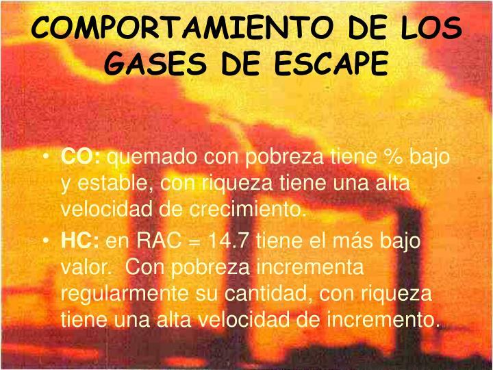 COMPORTAMIENTO DE LOS GASES DE ESCAPE