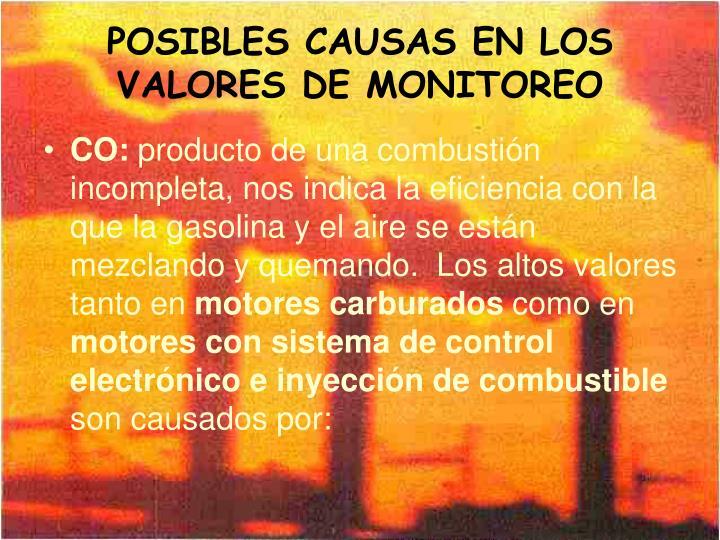 POSIBLES CAUSAS EN LOS VALORES DE MONITOREO