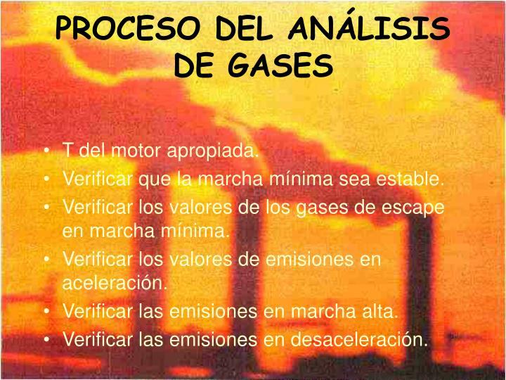 PROCESO DEL ANÁLISIS DE GASES