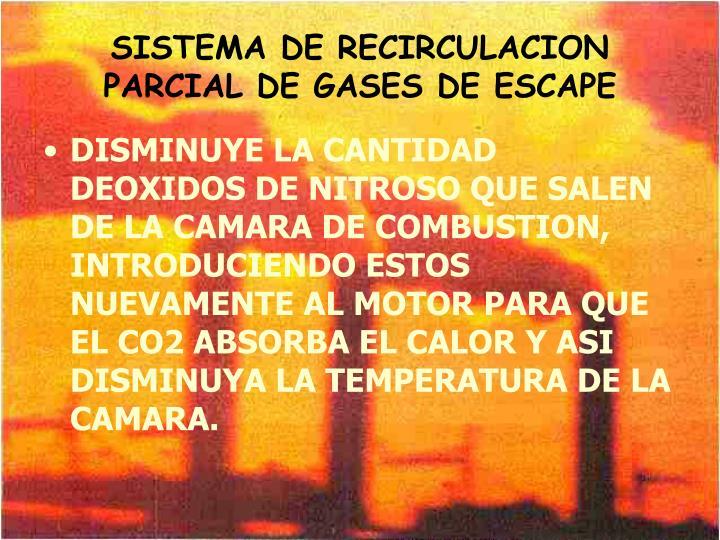 SISTEMA DE RECIRCULACION PARCIAL DE GASES DE ESCAPE