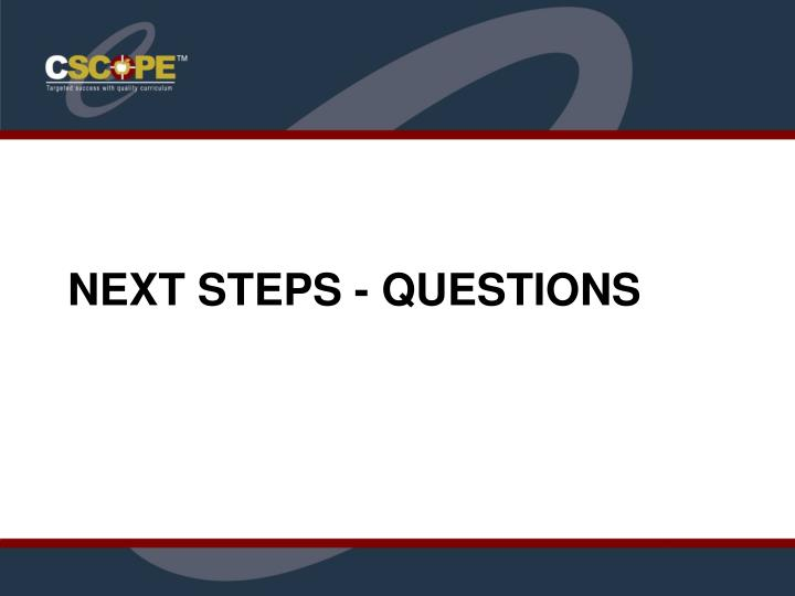 Next Steps - Questions