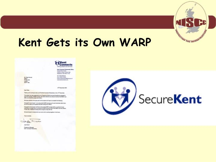 Kent Gets its Own WARP