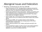 aboriginal issues and federalism