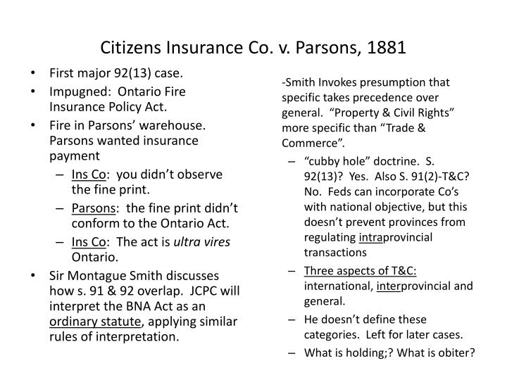 Citizens insurance co v parsons 1881