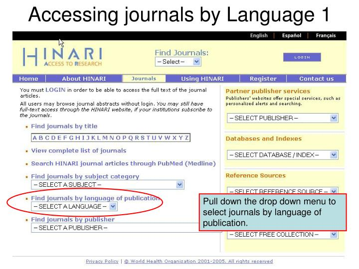 Accessing journals by Language 1