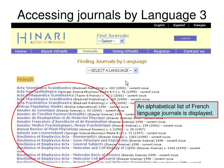 Accessing journals by Language 3