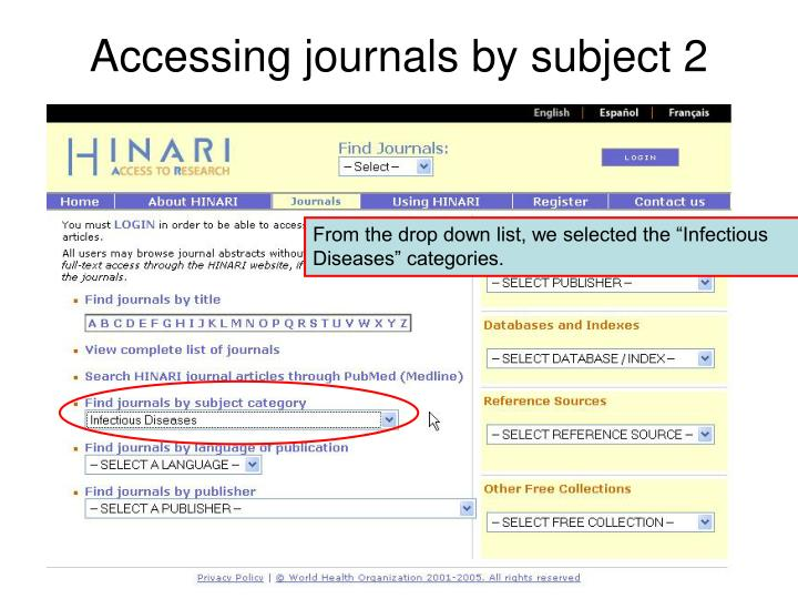 Accessing journals by subject 2