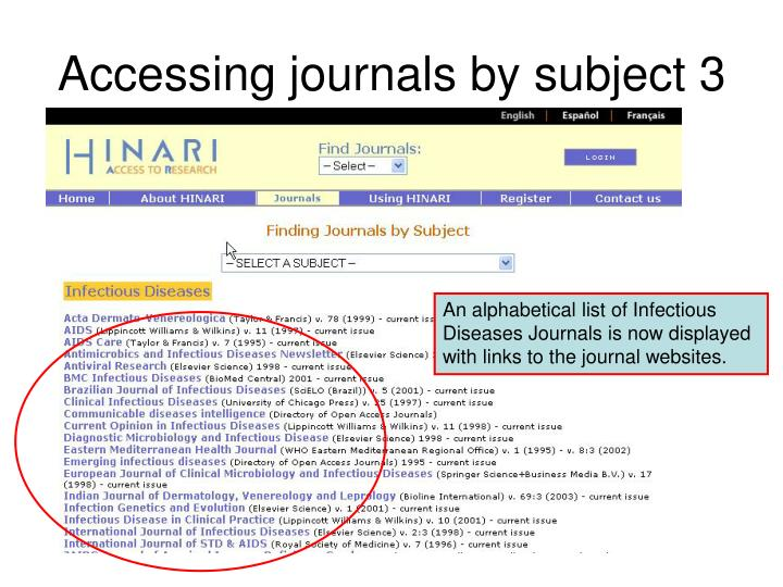 Accessing journals by subject 3