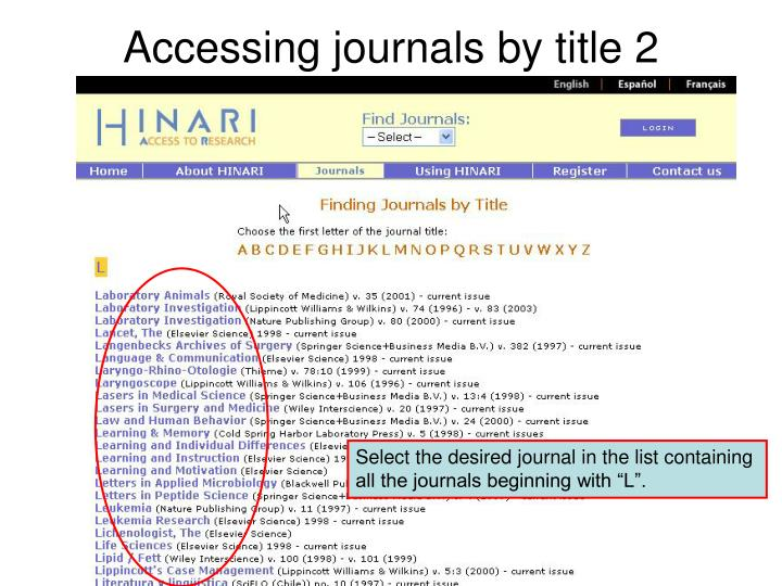 Accessing journals by title 2