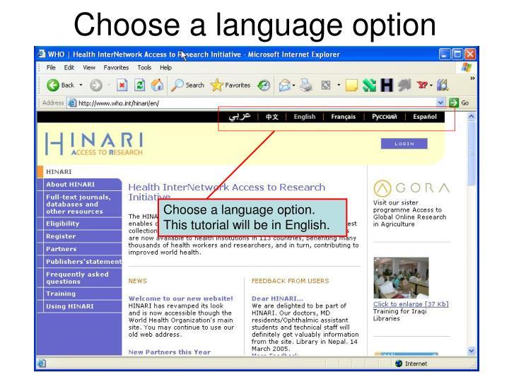 Choose a language option