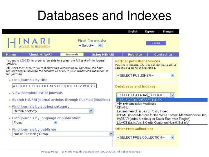 Databases and Indexes