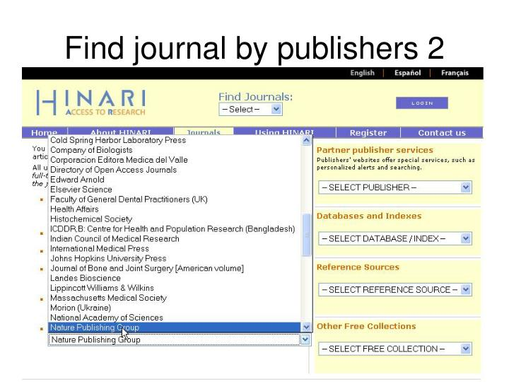 Find journal by publishers 2