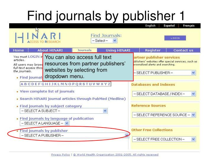 Find journals by publisher 1