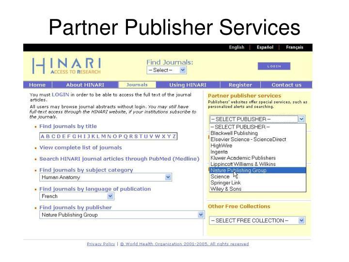 Partner Publisher Services