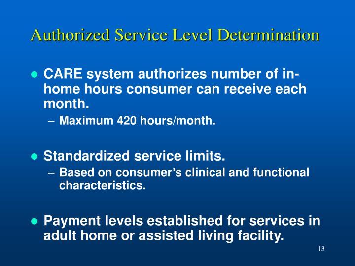 Authorized Service Level Determination