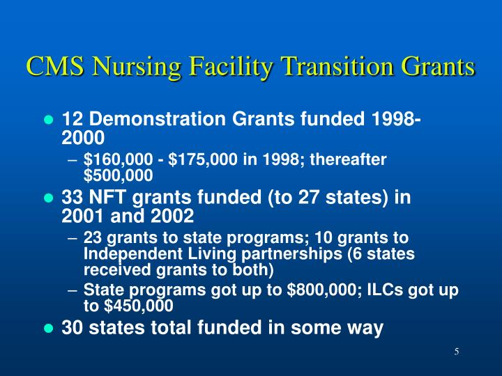 CMS Nursing Facility Transition Grants