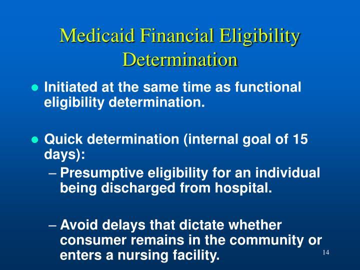 Medicaid Financial Eligibility Determination