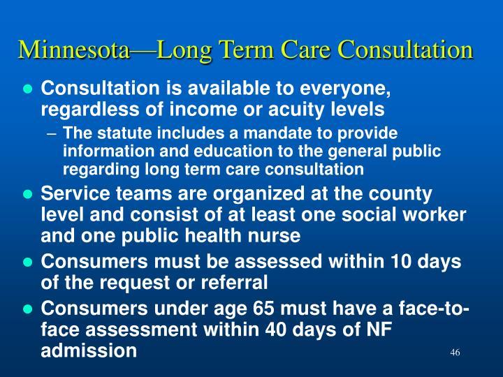 Minnesota—Long Term Care Consultation