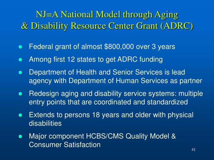 NJ=A National Model through Aging