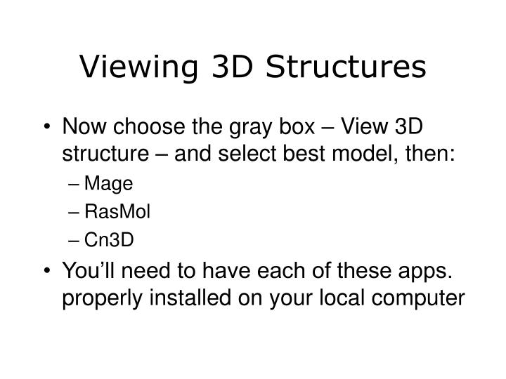 Viewing 3D Structures