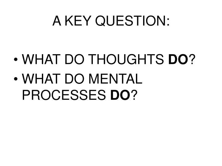A KEY QUESTION: