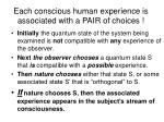 each conscious human experience is associated with a pair of choices