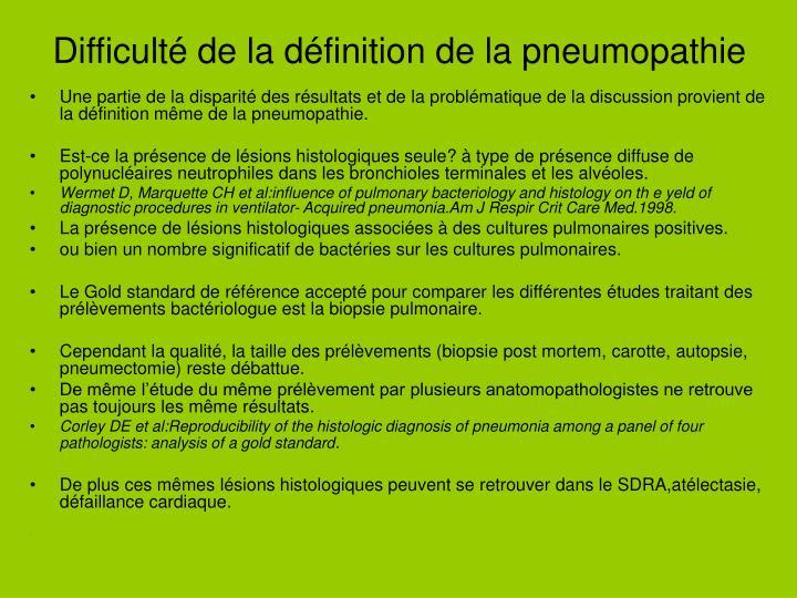 Difficulté de la définition de la pneumopathie