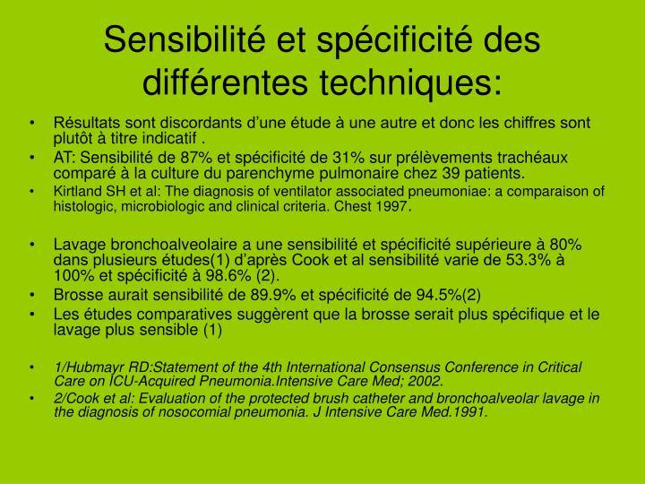 Sensibilité et spécificité des différentes techniques:
