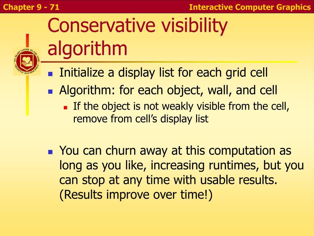 Conservative visibility algorithm