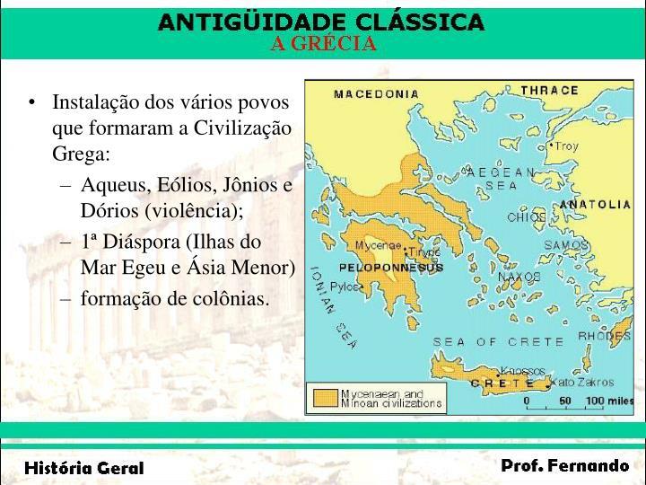 Instalação dos vários povos que formaram a Civilização Grega: