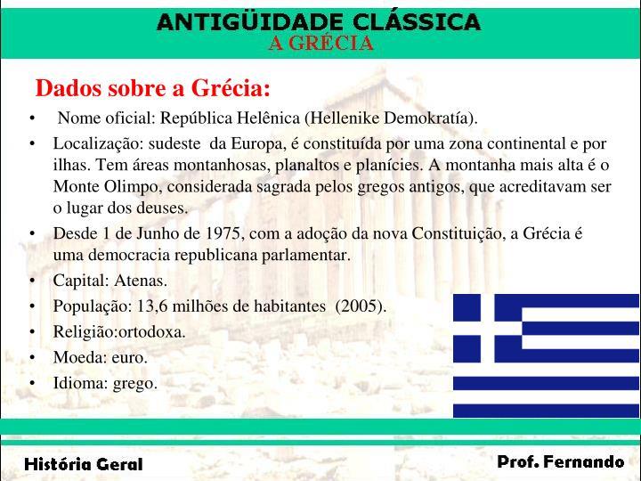 Dados sobre a Grécia: