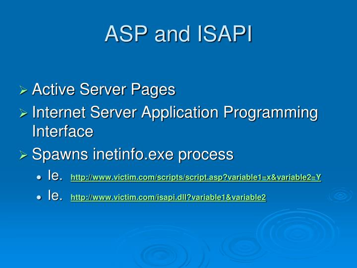 ASP and ISAPI