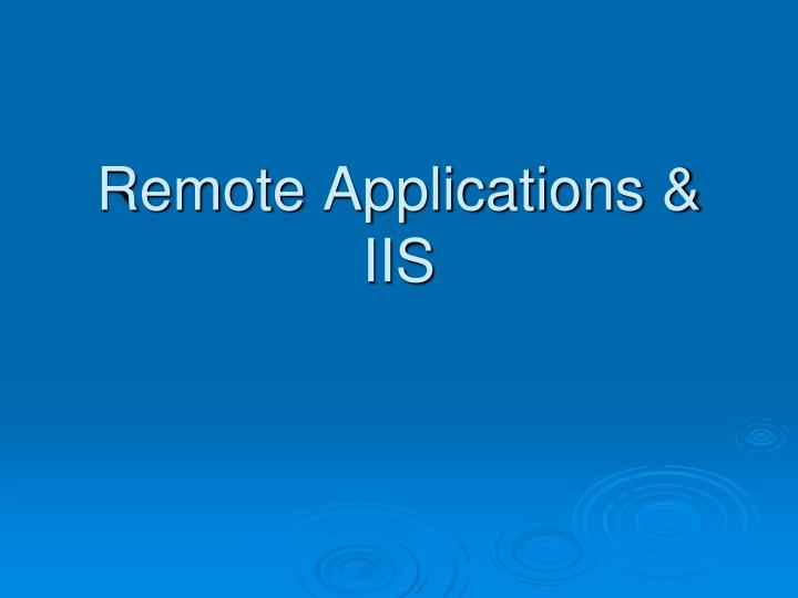 Remote applications iis