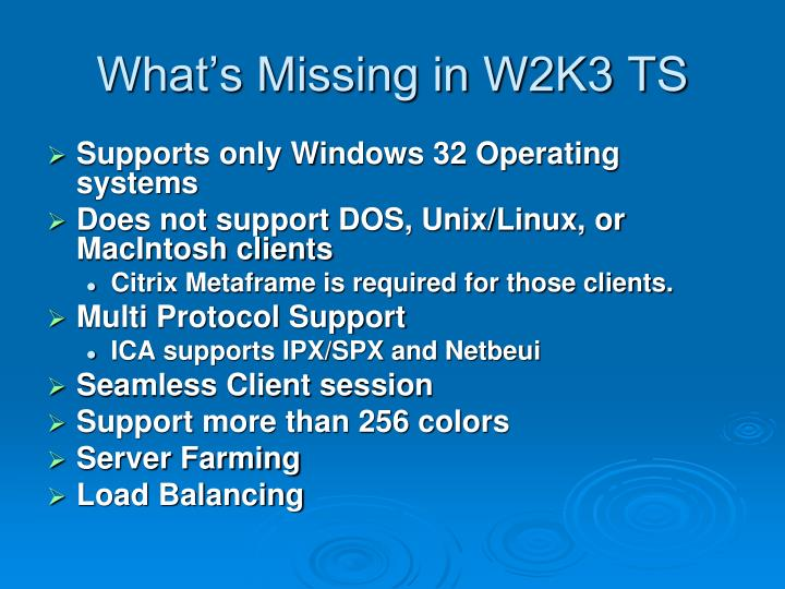 What's Missing in W2K3 TS