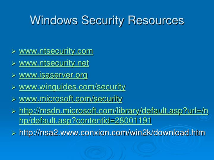 Windows Security Resources