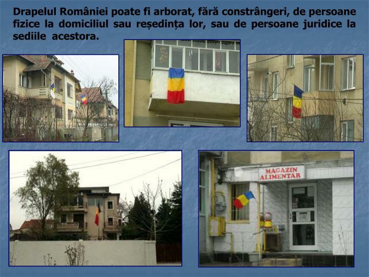 Drapelul României poate fi arborat, fără constrângeri, de persoane fizice la domiciliul sau reședința lor, sau de persoane juridice la sediile