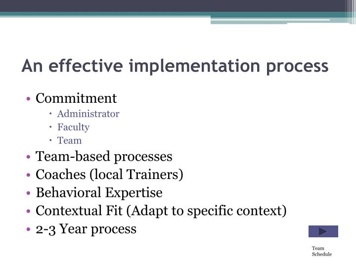 An effective implementation process