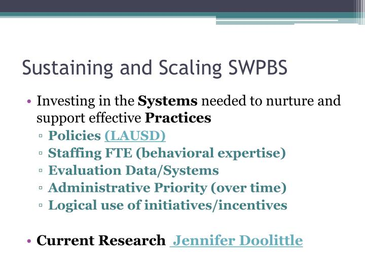 Sustaining and Scaling SWPBS