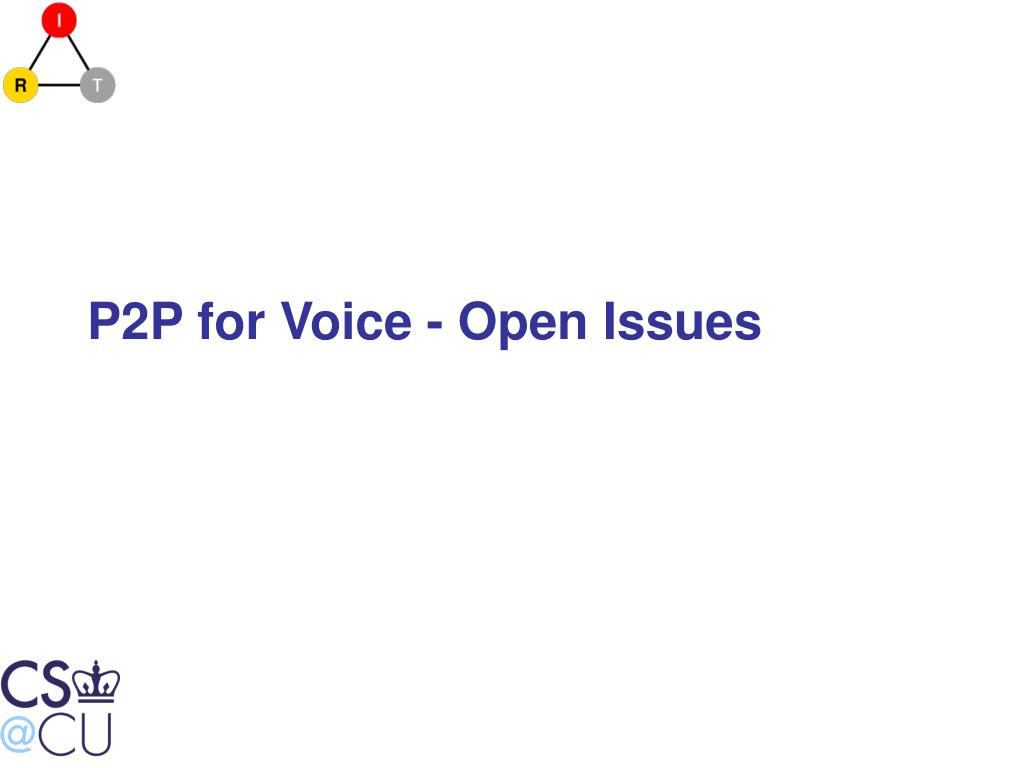 P2P for Voice - Open Issues