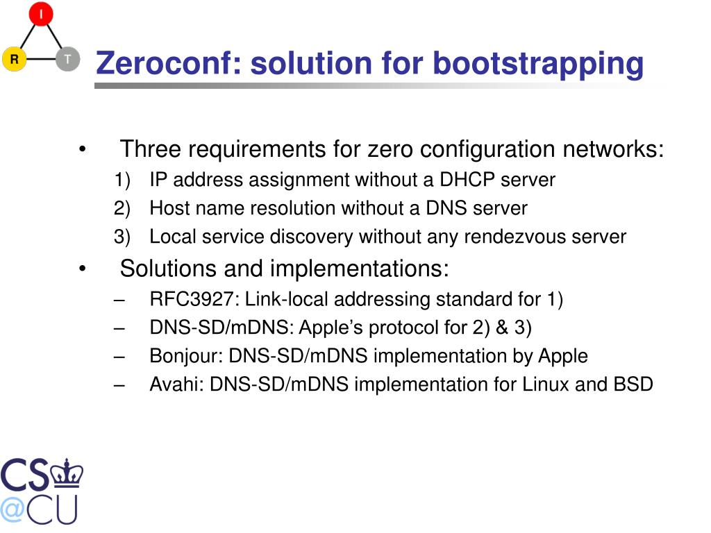 Zeroconf: solution for bootstrapping