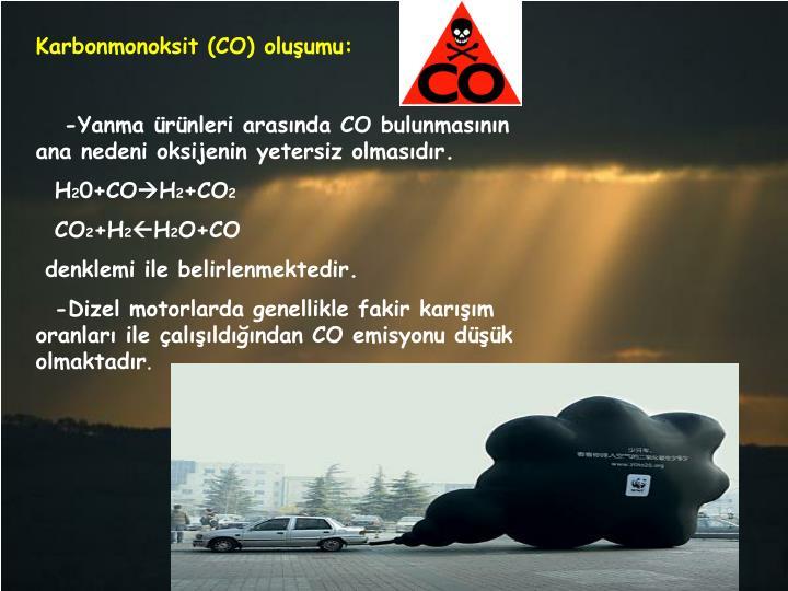 Karbonmonoksit (CO) oluşumu: