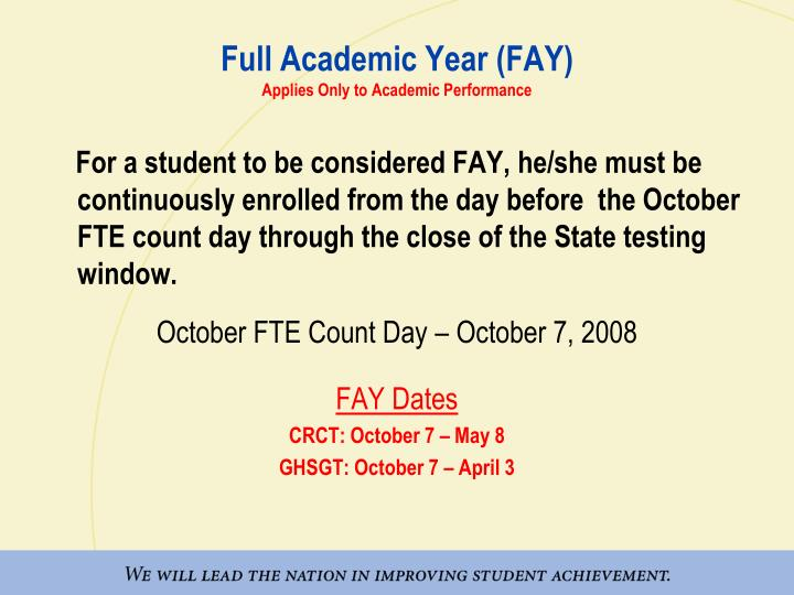 Full Academic Year (FAY)