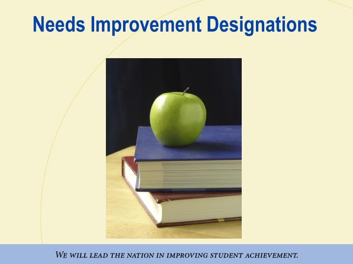 Needs Improvement Designations