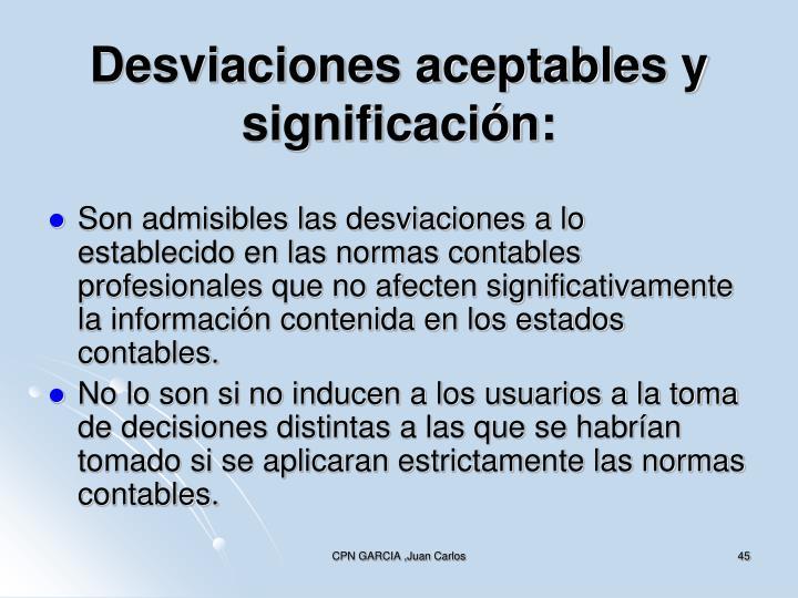 Desviaciones aceptables y significación: