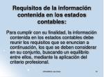 requisitos de la informaci n contenida en los estados contables