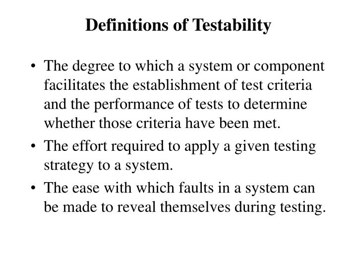 Definitions of Testability