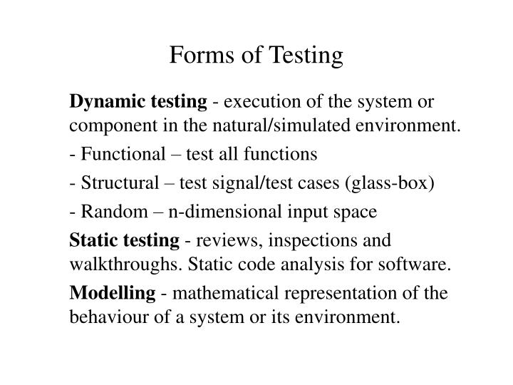Forms of Testing